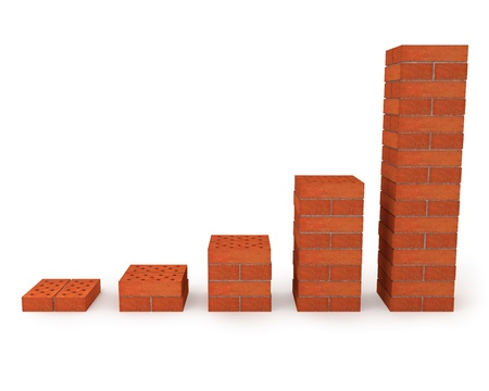 Graph showing growth progress made from orange bricks Stock Photo - 8239815