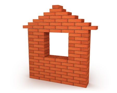 Abstract house made from orange bricks Stock Photo - 8239819