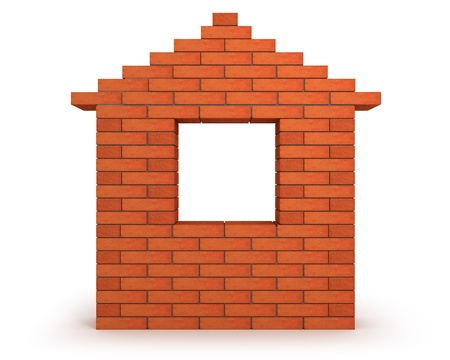 pile dwelling: Abstract house made from orange bricks front view  Stock Photo