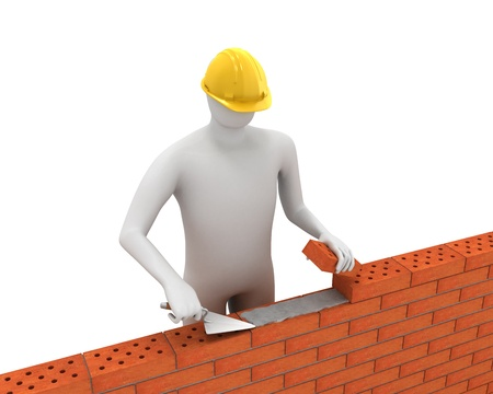 3D white builder lays bricks Stock Photo - 8239818