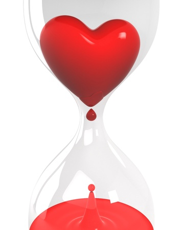 sorry: Hourglass with heart and blood closeup