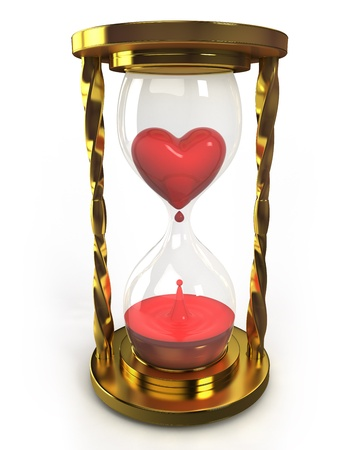 Golden hourglass with heart and blood photo