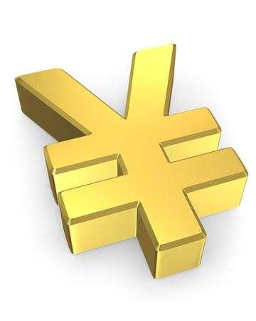 yen sign: Golden yen sign