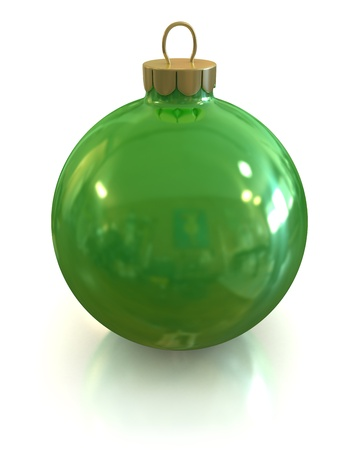 lightweight ornaments: Green christmas glossy and shiny ball isolated on white backgound  Stock Photo