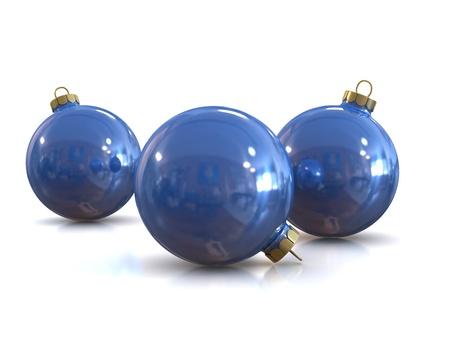 Few Blue christmas glossy and shiny balls isolated on white background photo