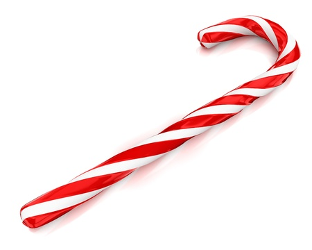 Traditional christmas candy cane isolated on white background in perspective photo