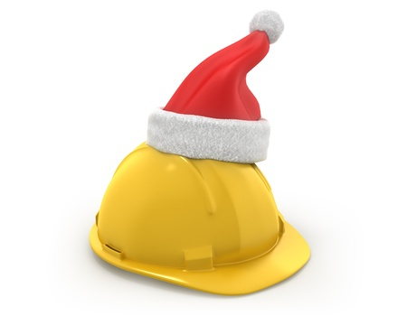 fur cap: Yellow helmet with santa claus hat on top isolated on white background