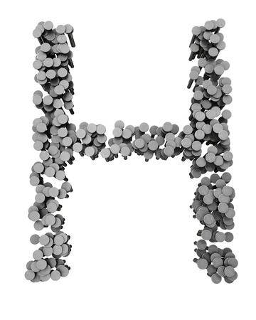 hammered: Alphabet made from hammered nails isolated on white background, letter H