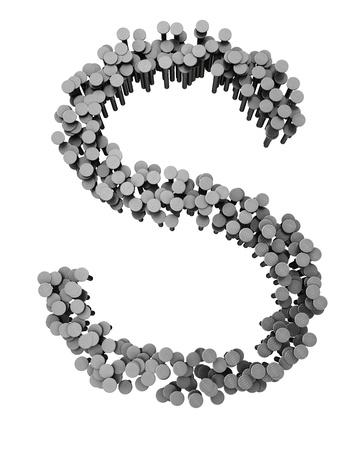 Alfabeto de clavos martillados aisladas sobre fondo blanco, letra s Foto de archivo - 8600961