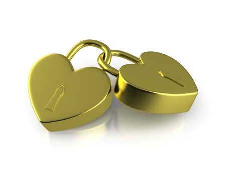 Two connected golden locks formed as hearts isolated on whitbe background photo
