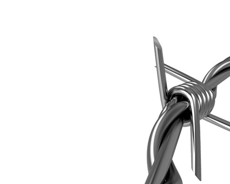 Barbed wire spike closeup, corner version isolated on white background Stock Photo - 8842930