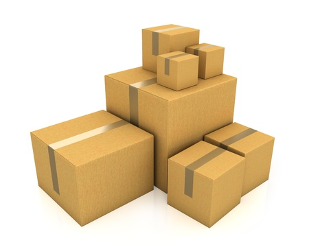 sized: Stack of different sized carton boxes