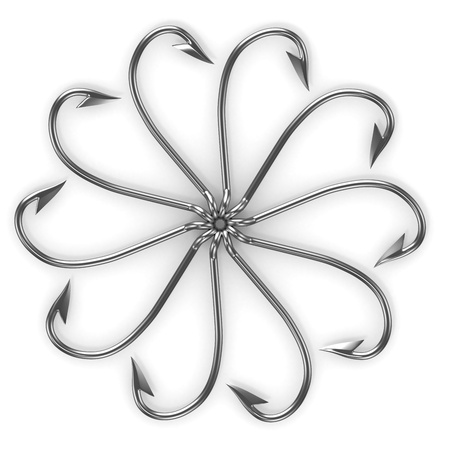 fishinghook: Abstract flower made from fishing hooks isolated on white background