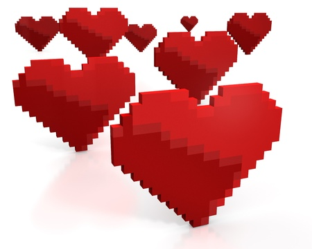 Few red hearts made of cubic pixels isolated on white background photo