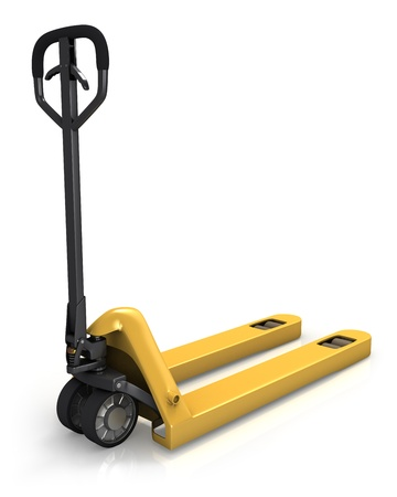 warehouse equipment: Pallet truck in perspective, rear view isolated on white background