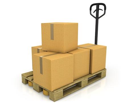 cardboard cutout: Pila di scatole di cartone su un pallet con un transpallet isolato su sfondo bianco