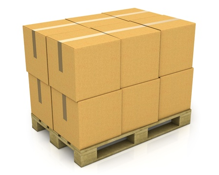 Stack of carton boxes on a pallet isolated on white background photo