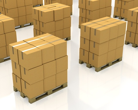 A lot of stacks of carton boxes on a pallets isolated on white background photo