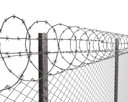 barrier: Chainlink fence with barbed wire on top closeup isolated on white background