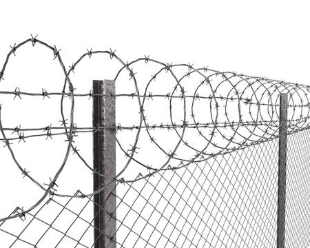 Playtime hek met prikkeldraad op top close-up geïsoleerd op witte achtergrond