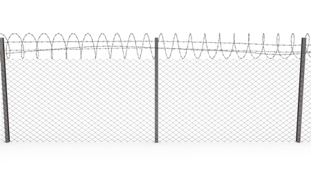 Chainlink fence with barbed wire on top  isolated on white background, front view Stock Photo - 8881815