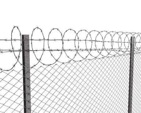 vigilante de seguridad: Chainlink valla con alambre de p�as en la parte superior aislada sobre fondo blanco