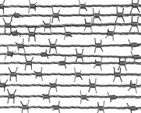 Lines of barbed wire isolated on white background Stock Photo - 8881817