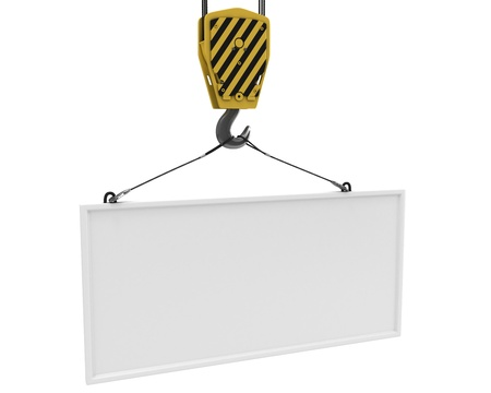Yellow crane hook lifting white blank plane for text, isolated on white background Stock Photo - 8881799