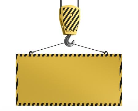 polea: Gancho de la gr�a amarilla levantamiento en blanco amarillo para prop�sitos de dise�o, aislados en fondo blanco