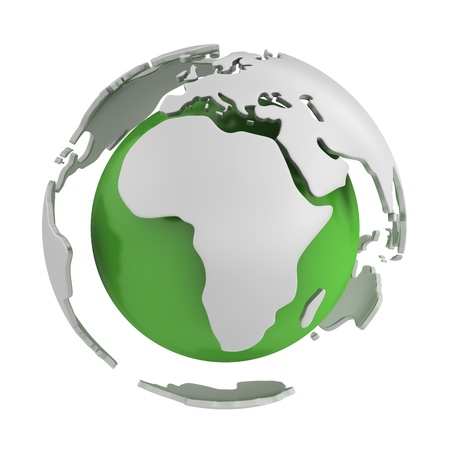 Abstract green globe, Africa part isolated on white background photo