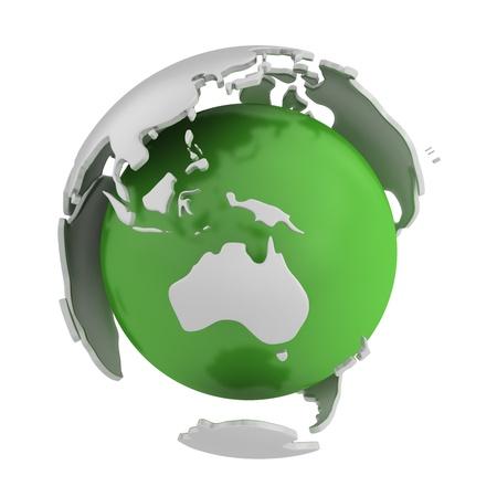 humanidad: Abstracto mundo verde, parte de Australia aislada sobre fondo blanco Foto de archivo