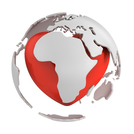 Globe with heart, Africa part isolated on white background Stock Photo