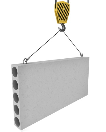 concrete blocks: Crane hook lifts up concrete plate isolated on white background Stock Photo
