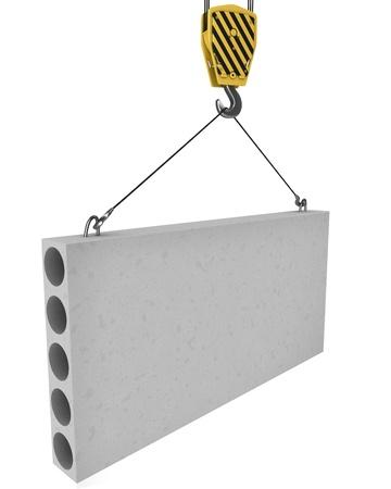 lajas: Gr�a gancho ascensores hasta la placa de hormig�n aisladas sobre fondo blanco
