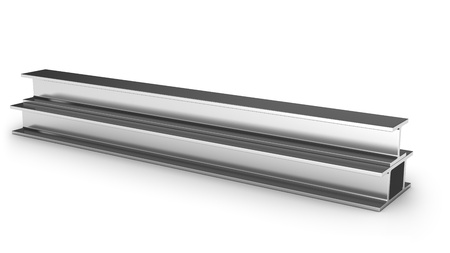 firmeza: Tres vigas de hierro aisladas sobre fondo blanco