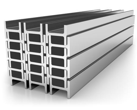 acier: Pile de fer solives isol� sur fond blanc