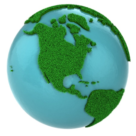 Globe of grass and water, North America part, isolated on white background photo