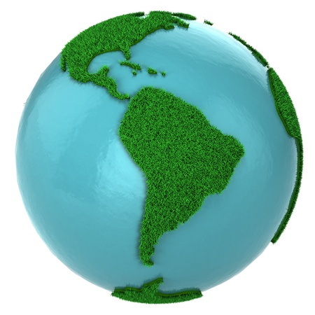 Globe of grass and water, South America part, isolated on white background photo