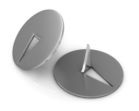Two metal thumbtacks closeup isolated on white background photo