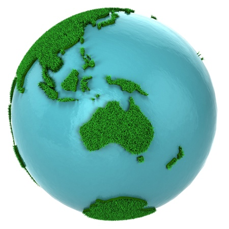 oceania: Globe of grass and water, Australia part, isolated on white background