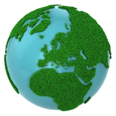 Globe of grass and water, Europe part, isolated on white background photo