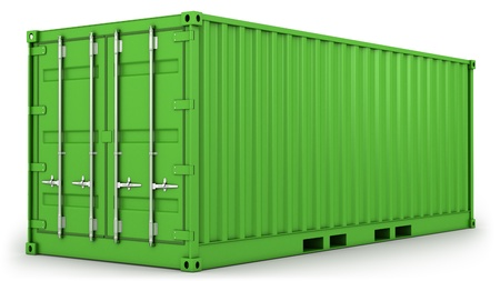 Green freight container isolated on white background Stock Photo - 9095239