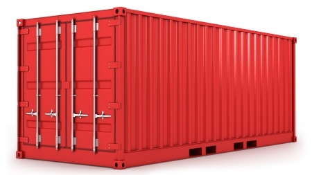 storage compartment: Red freight container isolated on white background