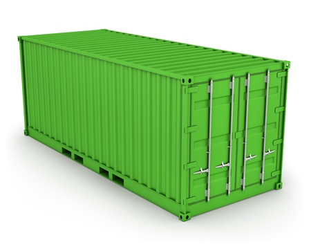 Green freight container isolated on white background photo