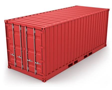 Red freight container isolated on white background Stock Photo - 9095248