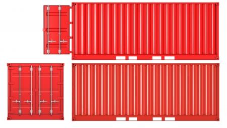 seafreight: Contenedor abierto y cerrado aislado sobre fondo blanco, frontal y lateral de la vista