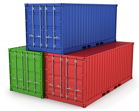 Three freight containers isolated on white background