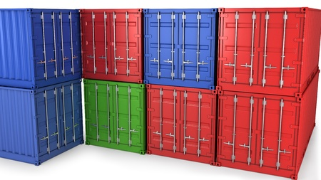 seafreight: Many freight containers isolatrd on white background Stock Photo