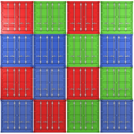 Square background made of multiple color freight containers Stock Photo - 9095706
