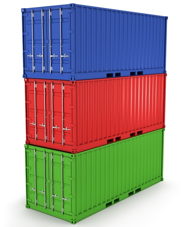 warehouse cargo: Three freight containers stacked in a tower isolated on white background